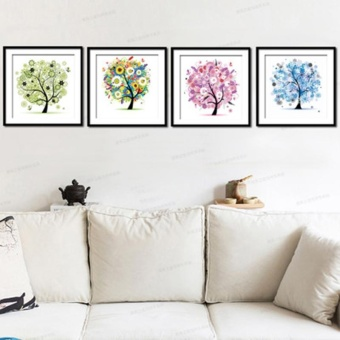 Flower Tree Pattern 4 Seasons DIY 5D Diamond Painting Mosaic RoundCrystal Cross Stitch Diamond Embroidery Kits, Pack Of 4 HomeDecoration - intl - 5