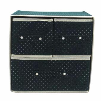 Foldable Woven Clothing Storage Box (Dotted Green) with FreeMultiFunctional Automobile Storage Bag (Red) - 4