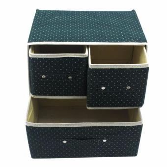 Foldable Woven Clothing Storage Box (Dotted Green) with FreeMultiFunctional Automobile Storage Bag (Red) - 3