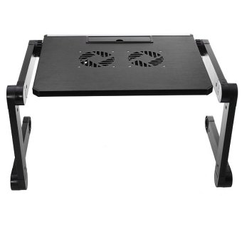 Folding Laptop Notebook Table Stand Desk Bed Sofa Tray Cooling Pad W Cooler Fan Black - picture 2