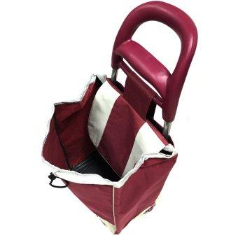 Folding Wheeled Festival Shopping Trolley Bag (Red wine) - 5