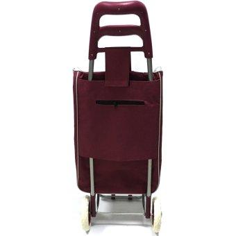 Folding Wheeled Festival Shopping Trolley Bag (Red wine) - 4