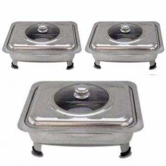 Food Warmer Rectangular Tray Stainless for Catering, Serving ,Events and Party Set of 3