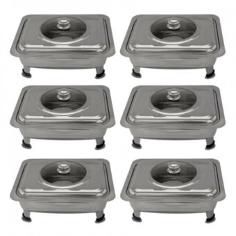 Food Warmer Rectangular Tray Stainless With Glass Cover for Catering, Serving , Events and Party Set of 6