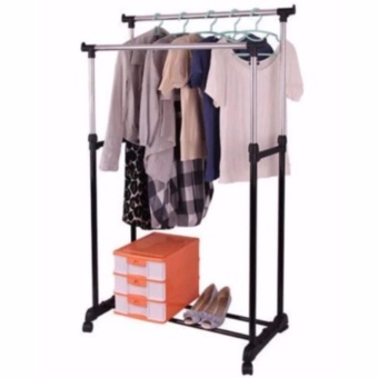 Fordable Double Pole Stainless Steel Clothes Rack