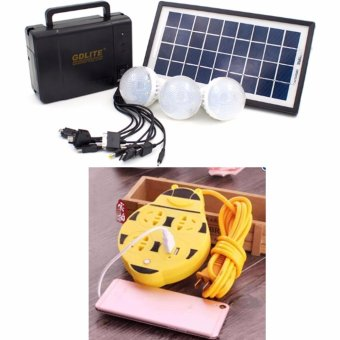 GDlite GD-8006-A Solar Lighting System (Black) With Extension WireCord with USB Socket 180CM Length (Yellow) Price Philippines