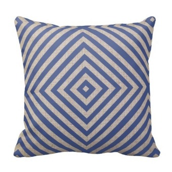 Geometric Cotton One Side Printing Pillow Case Cover (Blue)