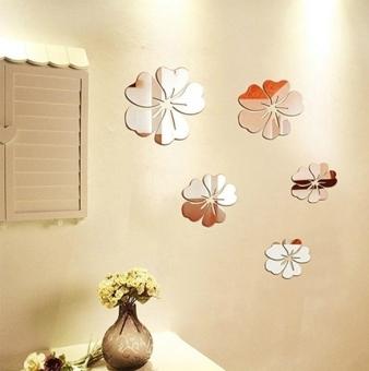 GETEK 5pcs Flower Mirror Art DIY Wall Stickers (Silver)