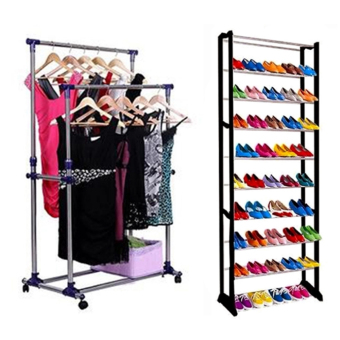 GMY Adjustable Double Pole Clothes Rack With High Quality AmazingShoe Rack (Black)