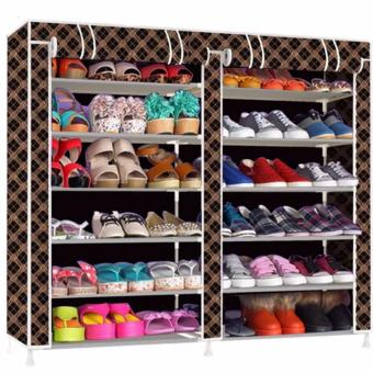GMY High Quality Double Capacity 6 Layer Shoe Rack Shoe Cabinet(Black+Stripe) Price Philippines