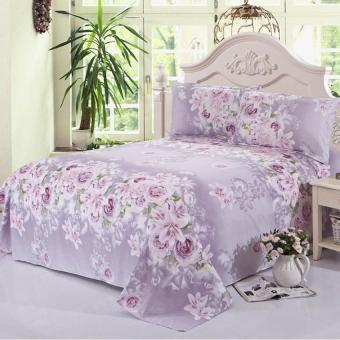 GoGoLife Funny & Cute Cotton Single & Full & Queen & King Size Bedsheet-28# Purple Flower