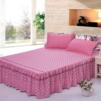 GoGoLife Single/Full/Queen/King Size High Quality Cotton Bed SkirtBedsheet Bedclothes Polka Dot Pattern-17# Pink