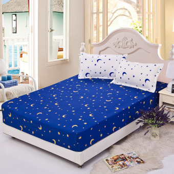 GoGoLife Single/Full/Queen/King Size High Quality Cotton Fitted BedSheets Star&Moon-10# Blue