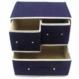 Gonzalez Multipurpose Durable Cloth Rack (White) with FoldableWoven Clothing Storage Box (Dotted Blue) - 5