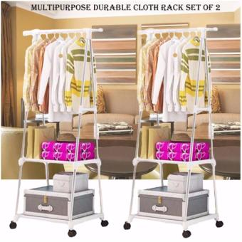 Gonzalez Multipurpose Durable Cloth Rack (White) with High QualitySrew Assemble 4 Layers Stainless Steel Stackable Shoe Rack - 4