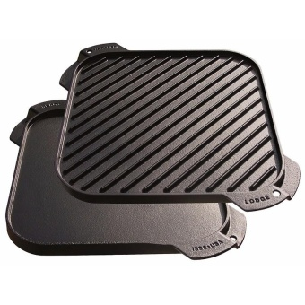 Gourdos Lodge LSRG3 10 .5 inch Pre-Seasoned Cast Iron ReversibleGrill / Griddle (Charcoal) - 4
