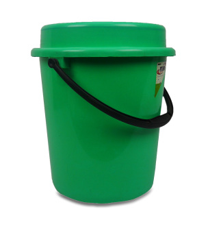 Green Fuho Pail w/ cover and plastic handle 511 6 gal. Green 92403 - 3