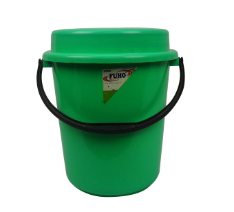 Green Fuho Pail w/ cover and plastic handle 511 6 gal. Green 92403 - 2