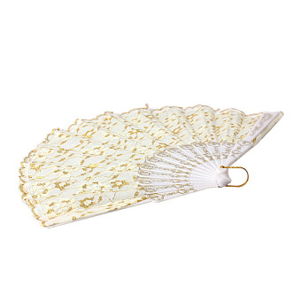 Hand Fan with Shining Gold Silk for Dancing Wedding Stage Performance White - picture 2