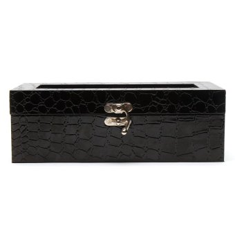 Handicraft 4-Compartment Watchbox (Croco Black)