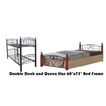 Hapihomes Android Double Deck Bed with Thani (Queen) 60'x75' BedFrame Black/Brown Price Philippines