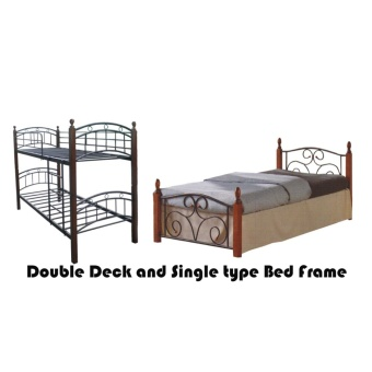 Hapihomes Android Double Deck Bed with Thani (Single)36'x75' BedFrame Black/Brown Price Philippines