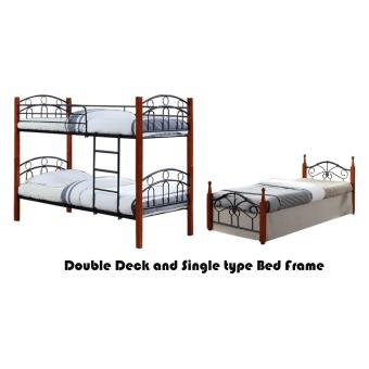 Hapihomes Asteroid Double Deck Bed with Miami (Single)36'x75' BedFrame Black/Brown Price Philippines