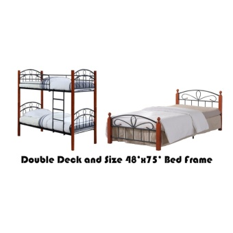 Hapihomes Asteroid Double Deck Bed with Paris (Double) 54'x75' BedFrame Black/Brown Price Philippines