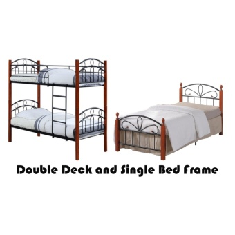 Hapihomes Asteroid Double Deck Bed with Paris (Single)36'x75' BedFrame Black/Brown Price Philippines