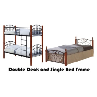 Hapihomes Asteroid Double Deck Bed with Thani (Single)36'x75' BedFrame Black/Brown Price Philippines