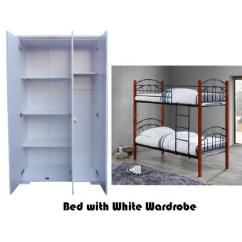 Hapihomes Channary 3-door White Wardrobe with Asteroid Ria DoubleDeck Bed Frame Set Price Philippines