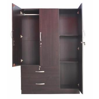 Hapihomes Gaby 3-door Wardrobe w/ Mirror (wenge) - 2