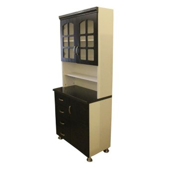 Hapihomes Morris Kitchen Cabinet (Black/White) - 3