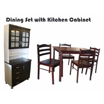 Hapihomes Starter 4-Seater Dining Set Seat with Morris 2 doorKitchen Cabinet Price Philippines