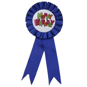 Happy Birthday Award Ribbon Badge Party Favor Dark Blue