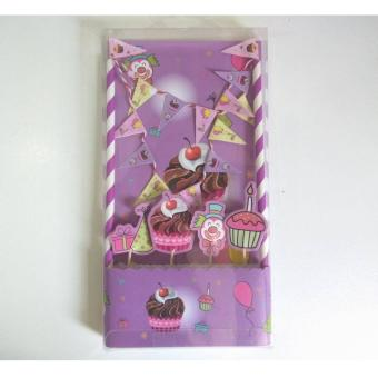 Happy Birthday Cake Picks Bunting Banner Kit Topper Flag DecorDecoration Party
