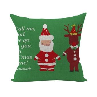 HappyLife Christmas Super Soft Pillowcase Cotton Linen Pillow Coverhome Deco Furniture Style 15 - intl