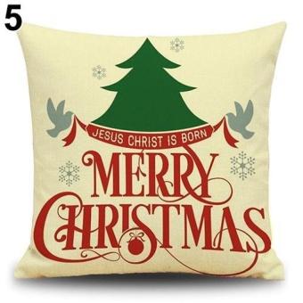 HappyLife Snowman Elk Tree Wreath Christmas Pillow Case Xmas Homedecor Linen Cushion Cover 5 - intl