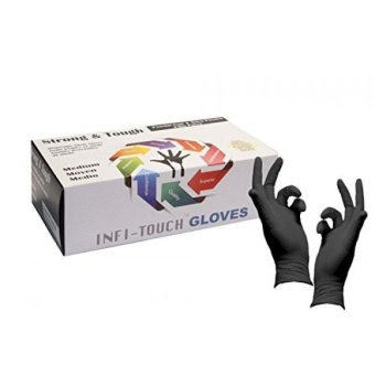 Heavy Duty Nitrile Gloves, Infi-Touch Strong & Tough, High Chemical Resistant, Disposable Gloves, Powder Free, Non Sterile, Ambidextrous, Finger Tip Textured, Dispenser Pack of 100, Size . - intl