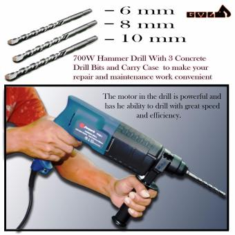 Heavy Duty Power Hammer Drill with Case with 6mm/8mm/10mm Steel Drilling Bits