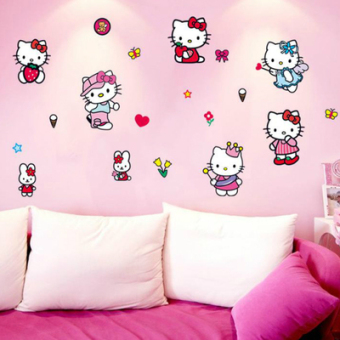 Hello Kitty girl's bedroom children's room decor sticker wall stickers