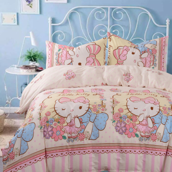 Hello Kitty princess cotton cat girl's quilt cover bedsheet