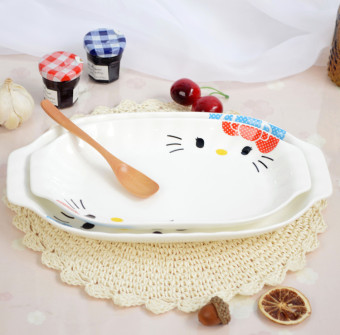 Hello kitty10 ears long-shaped fish dish ceramic soup Plate