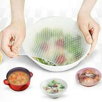HengSong 4Pcs Kitchen Multifunctional Silicone Fresh Bowl SealableCover Fresh Food Storage Seal Cover(White) - intl
