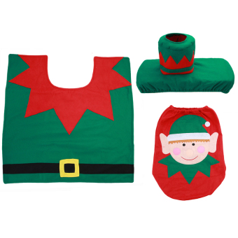 HengSong Christmas Santa Toilet Seat Cover and Rug Toilet setsMulticolor - Intl - 5