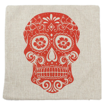 Hengsong Red Skull Pillow Case Cushion White - picture 2