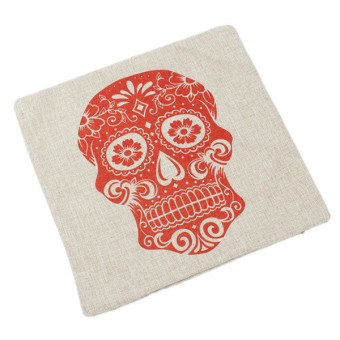 Hengsong Red Skull Pillow Case Cushion White