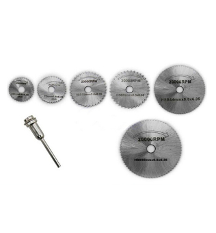 Hequ 7pcs/set Hss Rotary Tools Power Tools Circular Saw Blades Cutting Discs Mandrel Cutoff Cutter