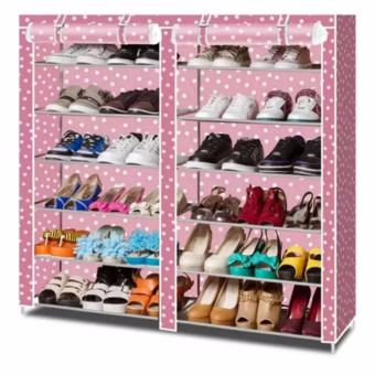 High Quality Double Capacity 6 Layer Shoe Rack Shoe Cabinet (PinkDot) Price Philippines