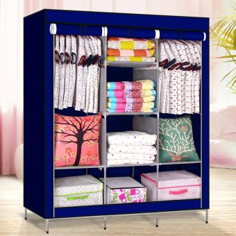 High Quality Multifunctional Dustproof High Capacity Wardrobe Storage Cabinet (Blue)